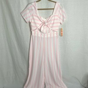 Gianni Bini Baby Pink White Striped Jumpsuit M NWT